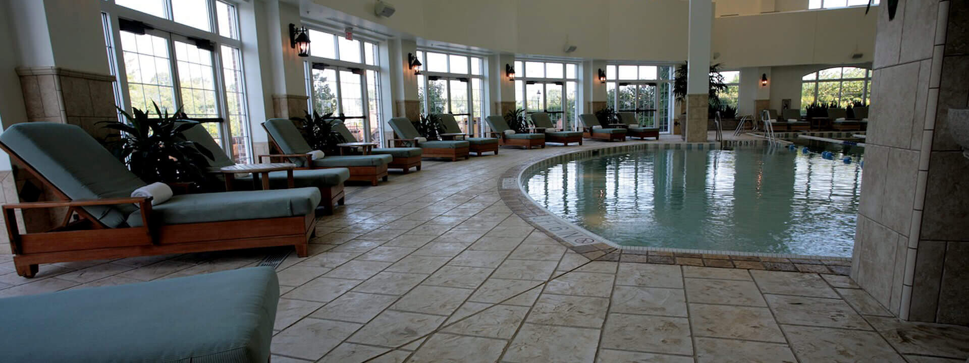 pool deck with stamped overlay